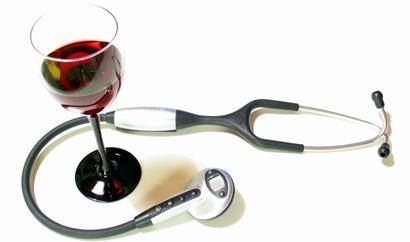 Imagen copa de vino y salud