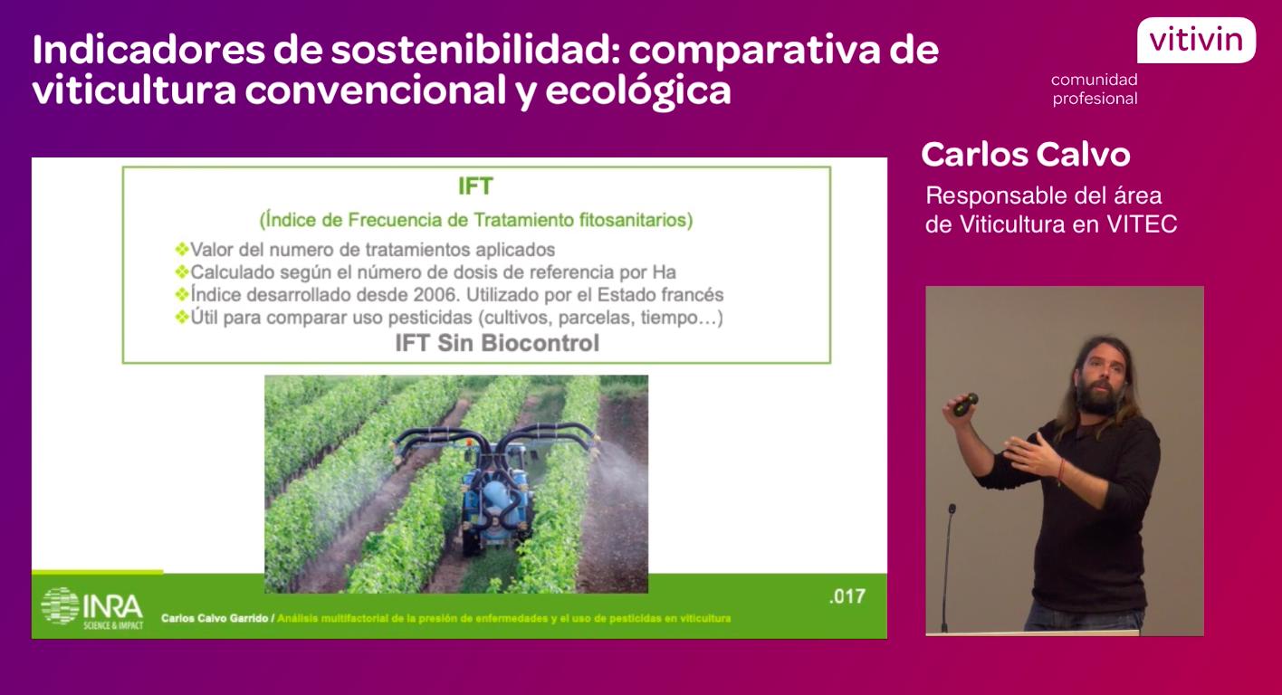 Ponencia Carlos Calvo viticultura convencional y ecológica jornada resultados Vinovert